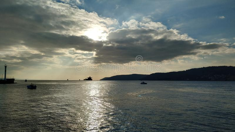 Sunset over the Dardanelles. Canakkale Throat Sunset Calm Sea Cloudy Sky stock image