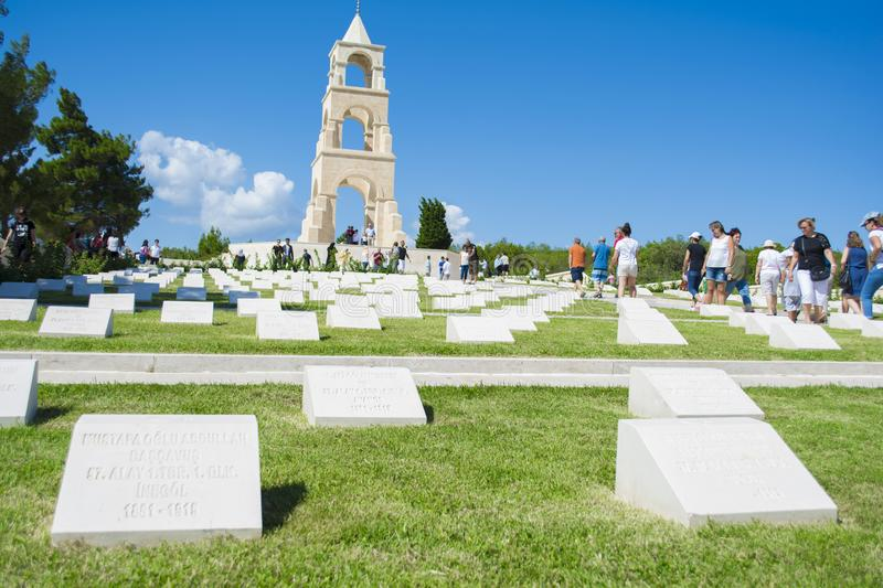 Canakkale, Turkey - August 10, 2018 : This martyrdom was built in the memory of 57th Regiment giving thousands of martyrs royalty free stock photo