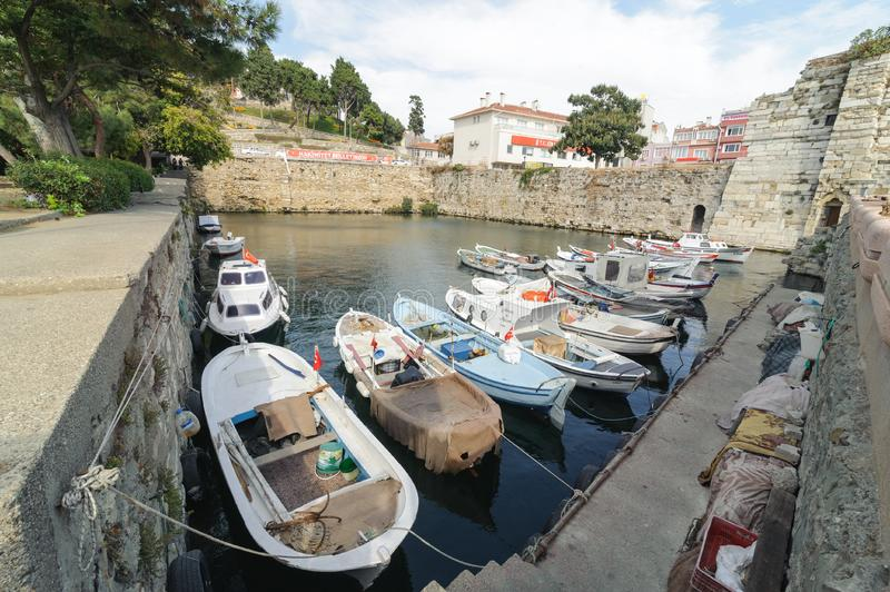 CANAKKALE, TURKEY- JULY 20, 2016: Port of Gallipoli Gelibolu panapoma. The Macedonian city of Callipolis was founded in the 5th. Century B.C.It has a rich stock photo