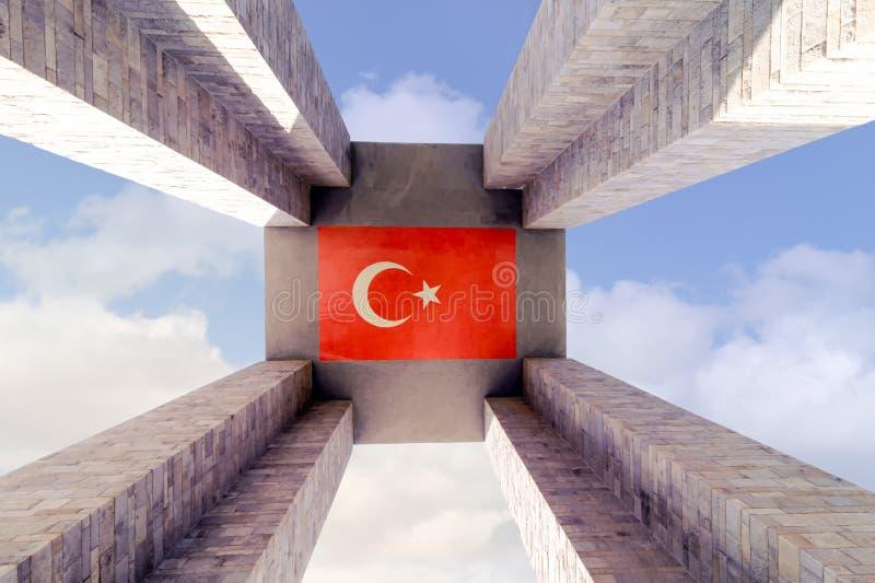 CANAKKALE TURKIET - SEPTEMBER 13, 2016: Minnesmärken för Canakkale martyr` är en krigminnesmärke som firar minnet av servicen av  arkivbild