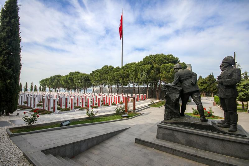 Canakkale, Turquie - 26 mai 2019 : Le cimetière militaire commémoratif de martyres de Canakkale est un mémorial de guerre commémo images libres de droits