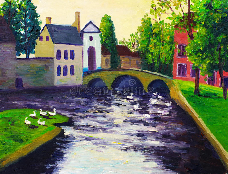 A Canal. Oil painting about a Canal stock illustration