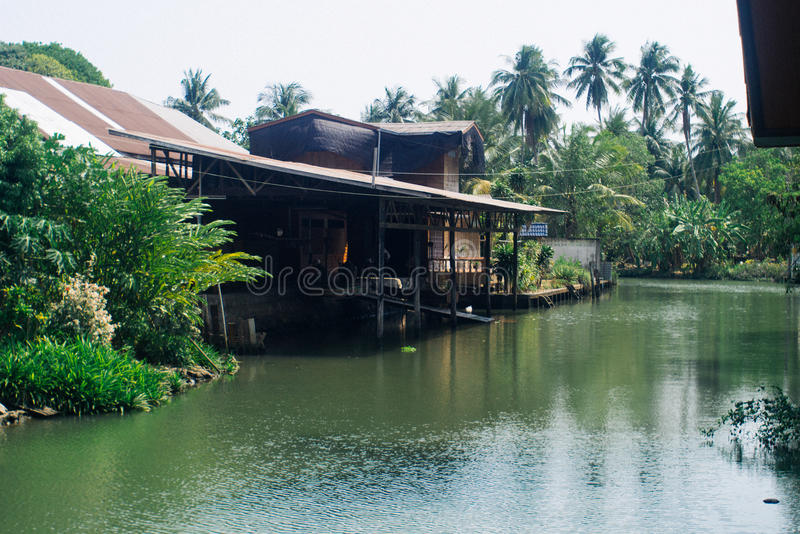 Canal amphawa and old house. View of Thailand royalty free stock photography