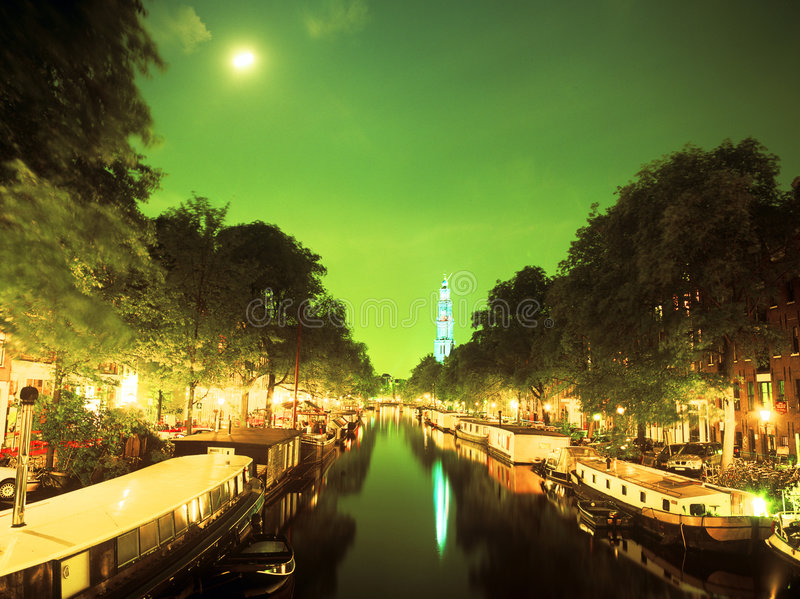 A Canal in Amsterdam stock image
