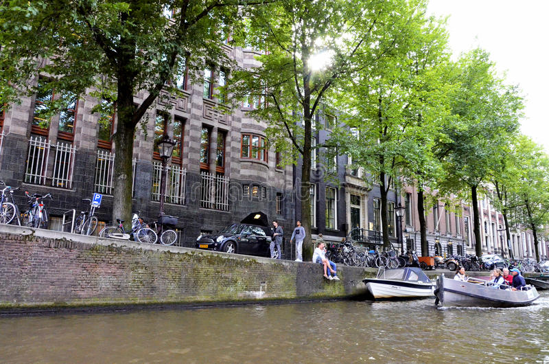 A canal in Amsterdam royalty free stock photo