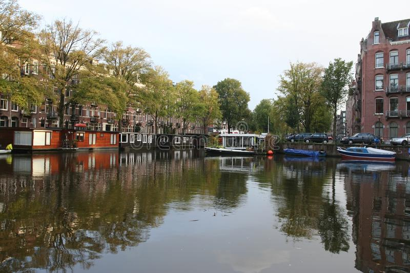 Canal Amsterdam Netherlands, Gracht Amsterdam Nederland. Canal Hugo de Grootkade Amsterdam Netherlands, Gracht Hugo de Grootkade Amsterdam Nederland royalty free stock image