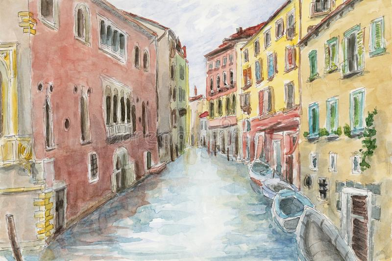 Canal between ancient buildings. Venice, Italy. Pencil and watercolor on paper vector illustration