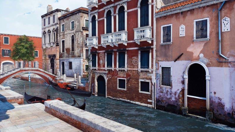 Canal avec la gondole vénitienne vide à Venise, Italie illustration libre de droits