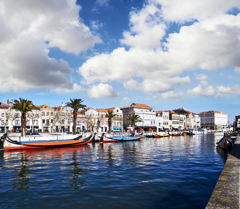 Canal of Aveiro, Portugal. View from the canal of Aveiro, Portugal stock photography