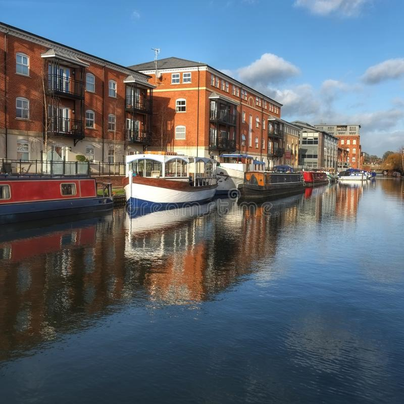 Canal basin Worcester uk royalty free stock photos