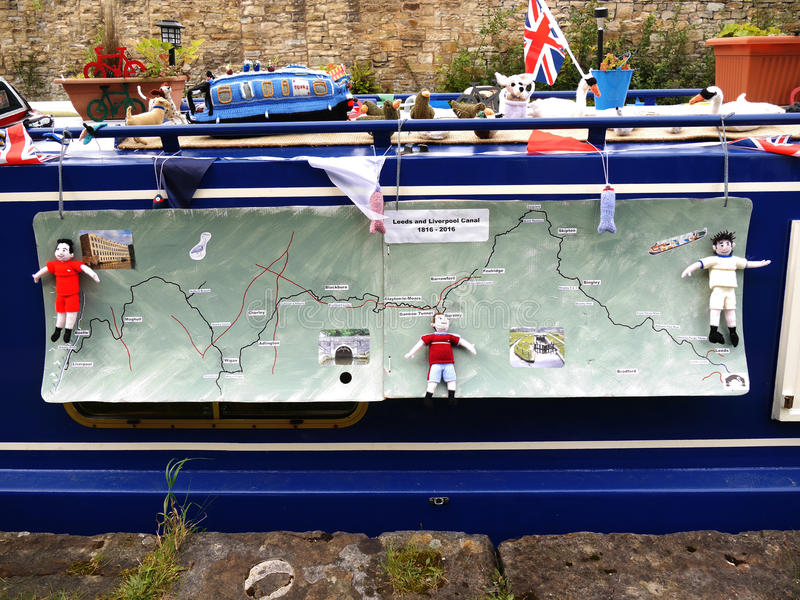 Canal Boat with fabric map at the 200 year celebration of the Leeds Liverpool Canal at Burnley Lancashire. The Leeds and Liverpool Canal is a canal in Northern stock photo