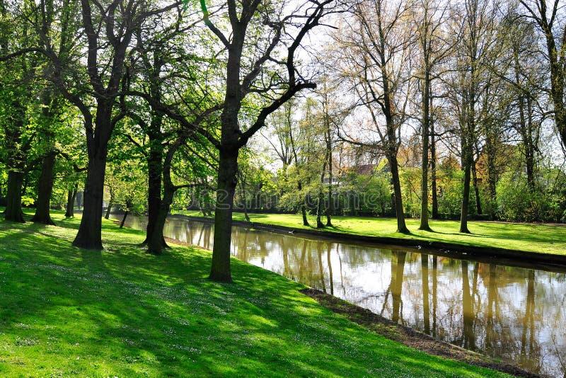 Canal in Brugge, Belgium. Romantic town, canal in Brugge, Belgium royalty free stock photos