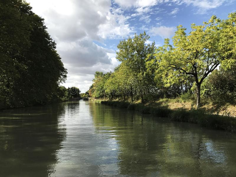 Canal in Carcassone , France stock photography