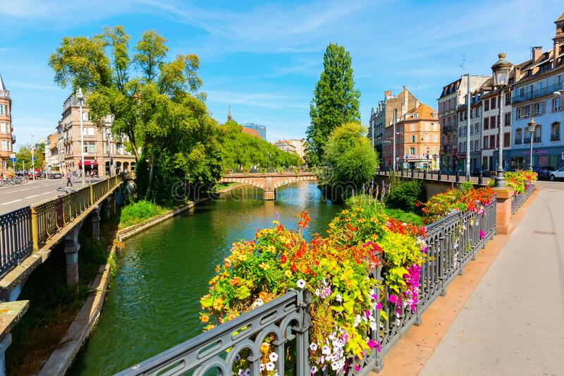 Canal in the center of Strasbourg, France royalty free stock photo