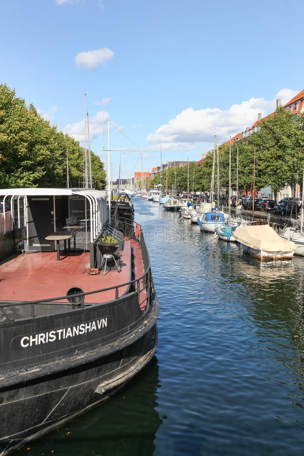 Canal of Christianshavn in Copenhagen, Denmark stock photos