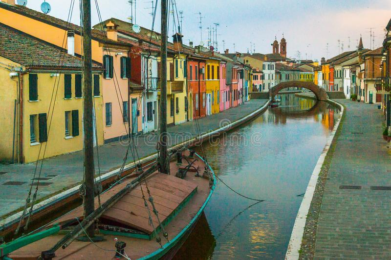 Canal of Comacchio stock photography