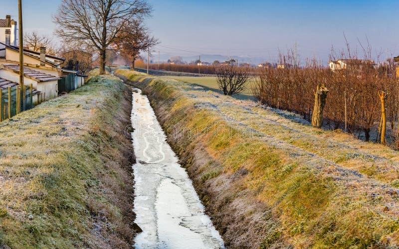 Canal congelé d'irrigation photographie stock libre de droits