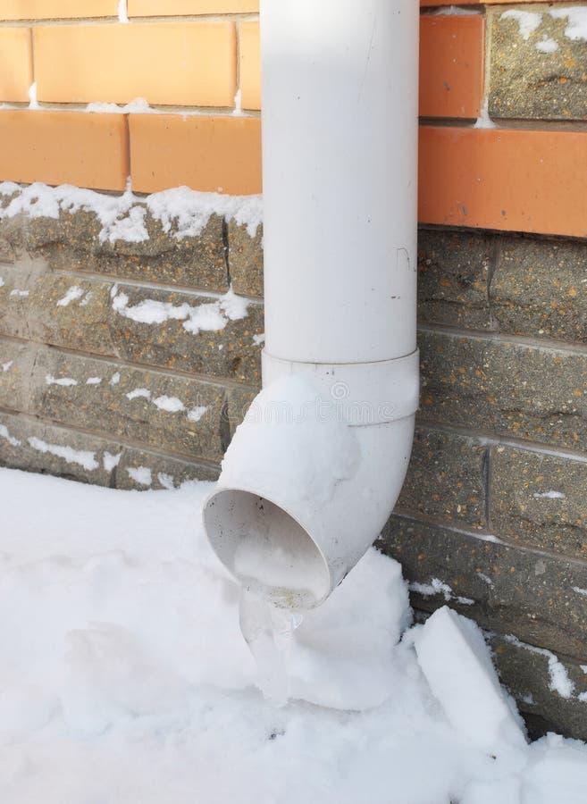 Canal congelado, tubería de la bajada de aguas con hielo Sólido congelado canales fotos de archivo