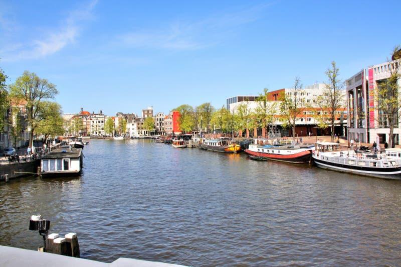 Canal d'Amsterdam, Pays-Bas image libre de droits