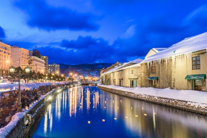Canal d'hiver d'Otaru, Japon image libre de droits