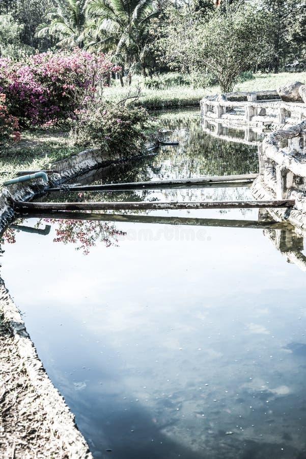 Canal da água quente na mola quente de Sankamphaeng foto de stock
