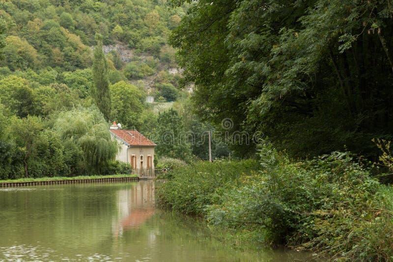 Canal de布戈尼,法国 免版税库存图片