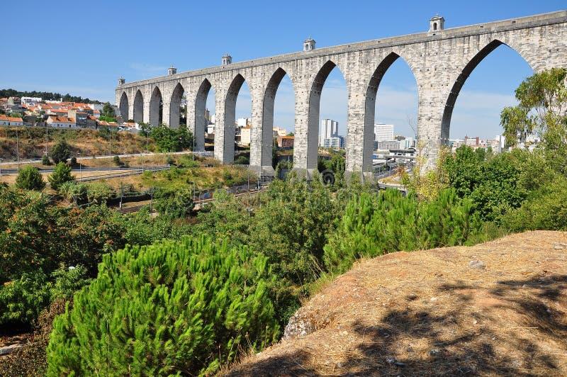 Canal de agua antiguo de Lisboa fotografía de archivo libre de regalías