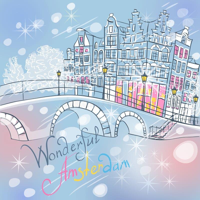 Canal de Amsterdam de la Navidad del vector y casas típicas libre illustration