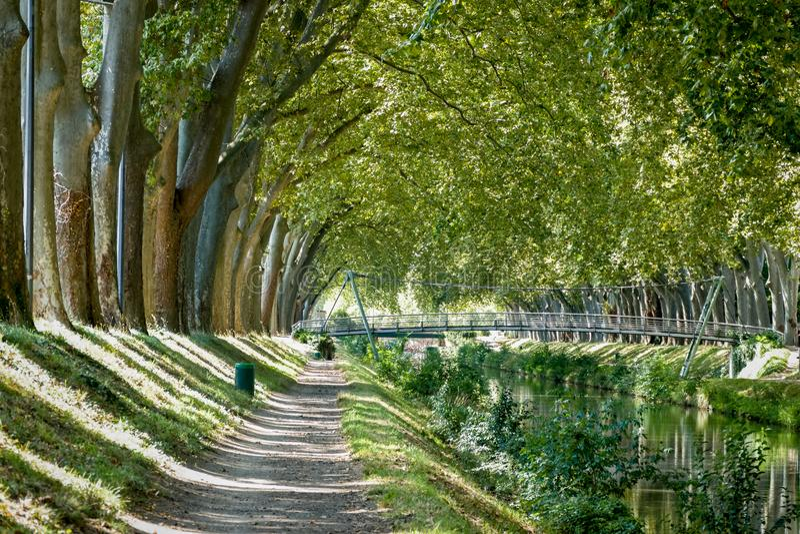 Canal de Brienne在图卢兹,法国 库存照片