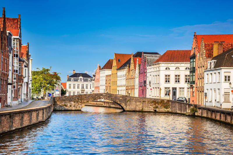 Canal de Bruges, Bélgica fotos de stock royalty free