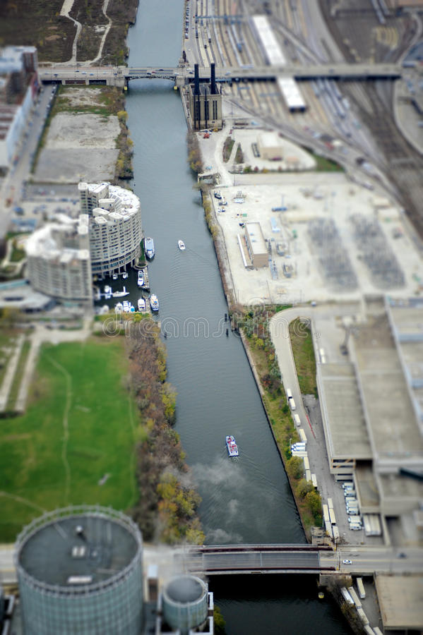 Canal de Chicago imagen de archivo