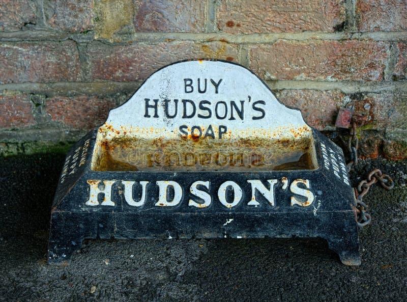 Canal de consumición del perrito del vintage, patrocinado por el jabón del Hudson fotos de archivo