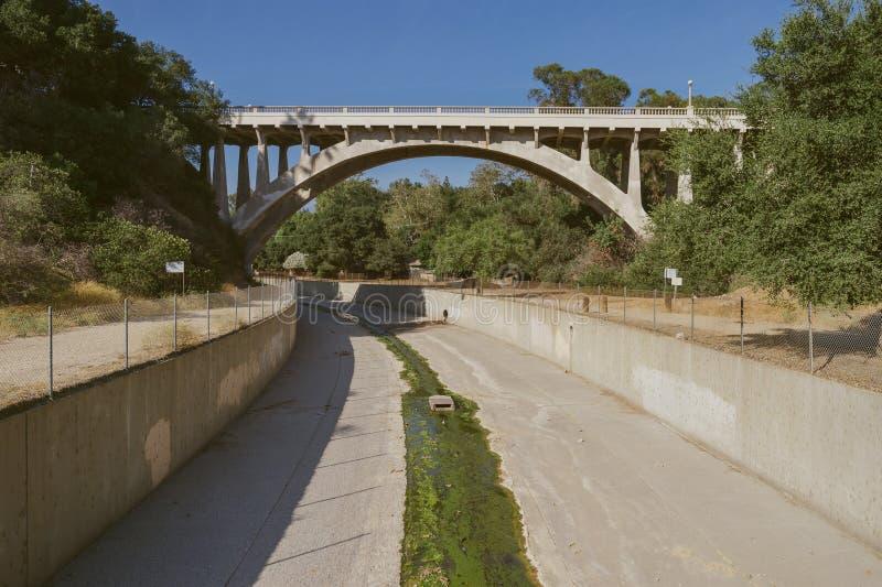 Canal de controlo de cheias, Los Angeles County imagem de stock royalty free