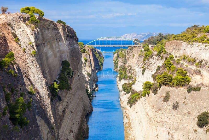 Canal de Corinthe en Grèce photographie stock libre de droits