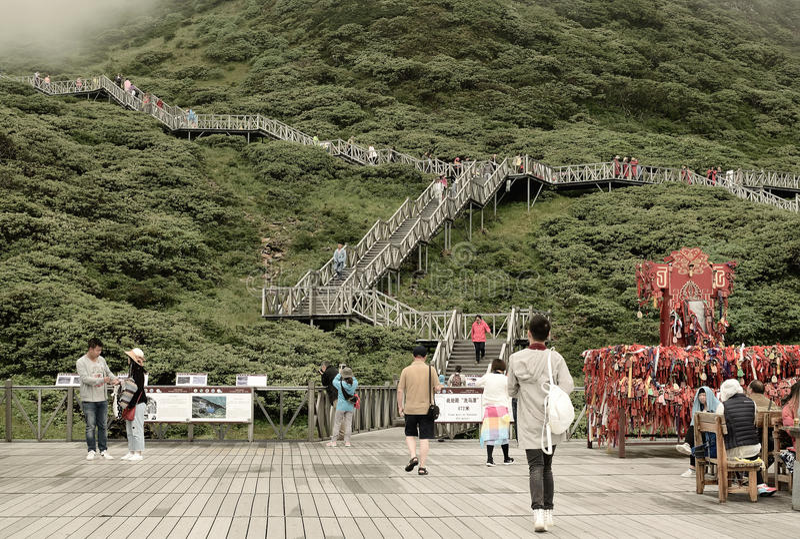 Canal de Dali China-Tourist en las montañas de Cangshan imágenes de archivo libres de regalías