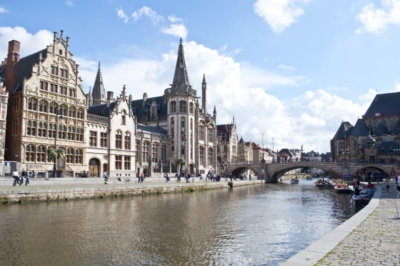 Canal de Gante, Bélgica fotos de archivo libres de regalías