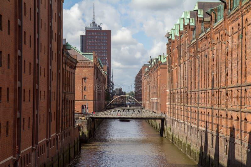 Canal de Hamburgo con un puente fotografía de archivo libre de regalías