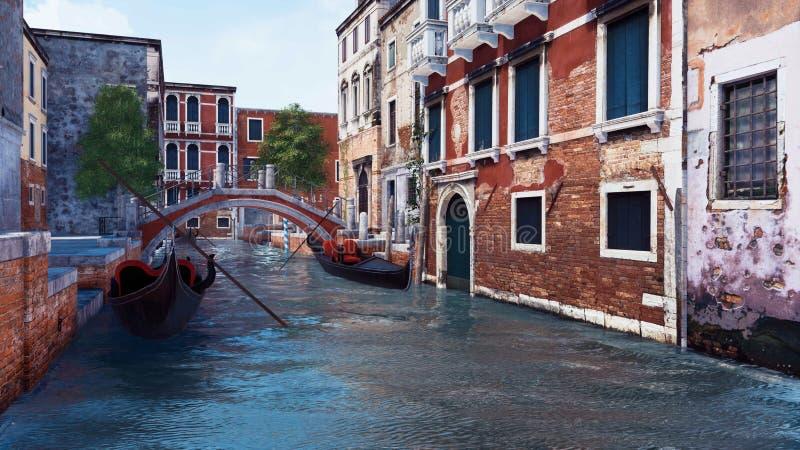 Canal de l'eau et bâtiments antiques à Venise, Italie illustration stock