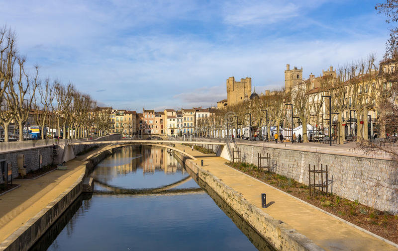 Canal de la Robine in Narbonne, Languedoc-Roussillon - France stock photo