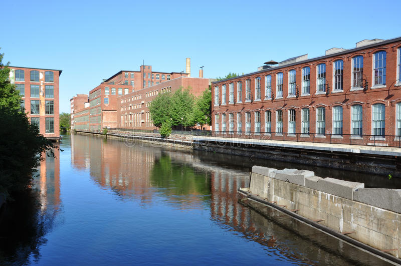 Canal de Lowell, Massachusetts, EUA imagem de stock