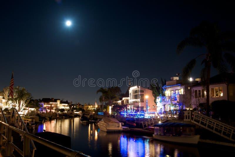 Canal de Nápoles California durante la Navidad imagen de archivo libre de regalías