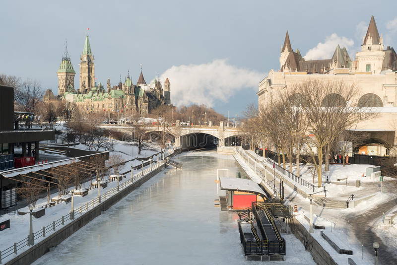 Canal de Ottawa Ridean no inverno fotos de stock