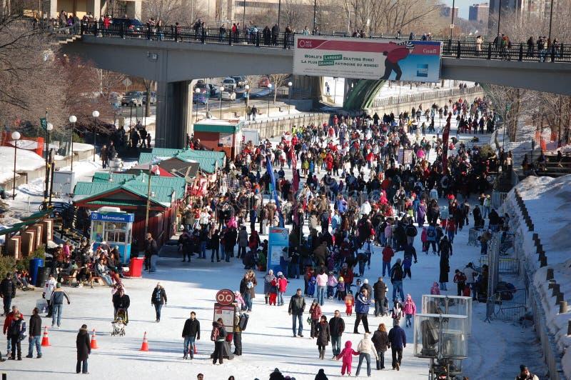 Canal de Ottawa Winterlude Rideau fotos de stock