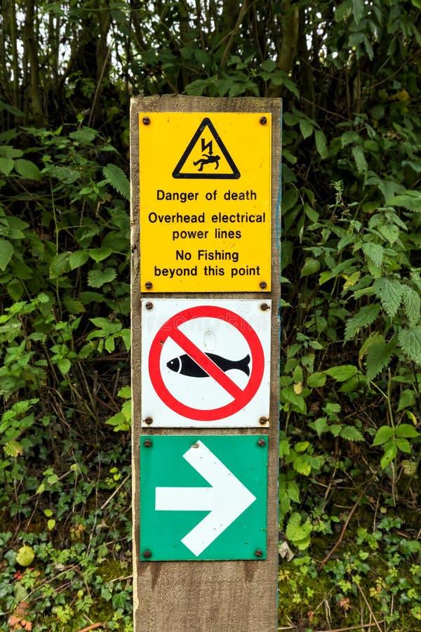 Canal de panneau d'avertissement de danger, de Worcester et de Birmingham, Angleterre images stock