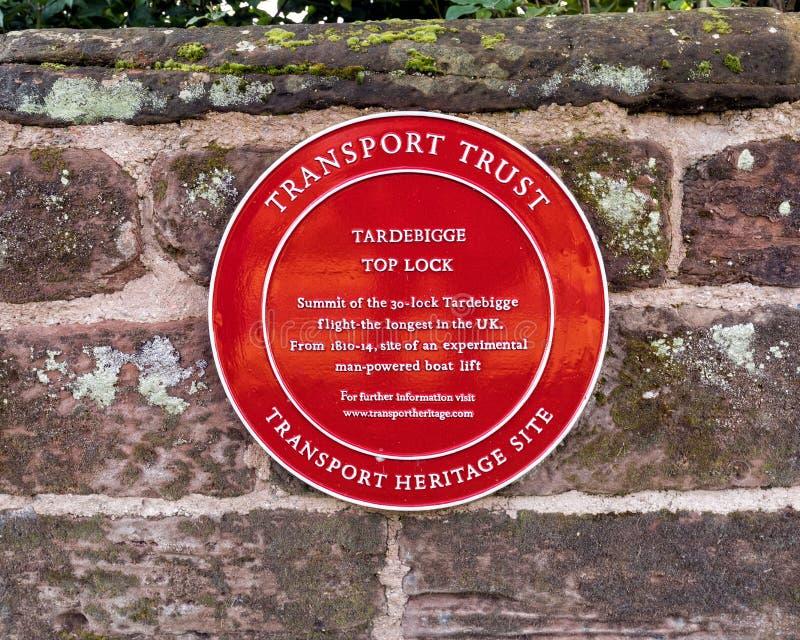 Canal de plaque, de Worcester et de Birmingham d'héritage de confiance de transport image stock
