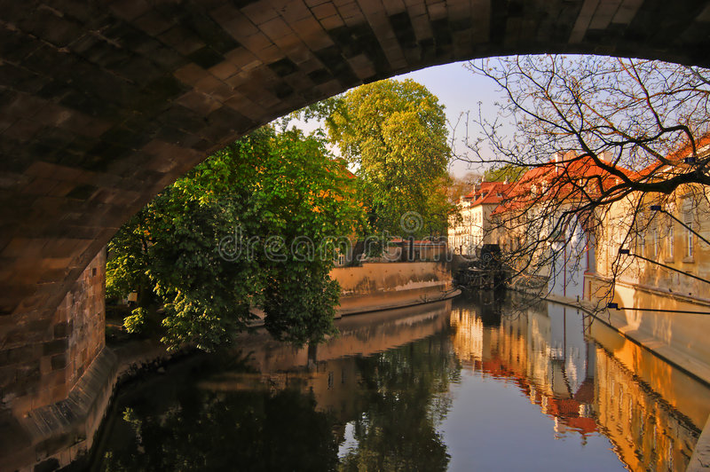 Canal de Prague images libres de droits