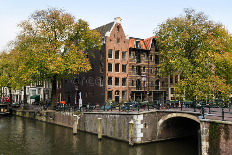 Canal de Prinsengracht dans l'automne Amsterdam, Hollandes photos libres de droits