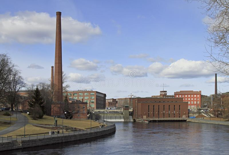 Canal de Tammerkoski à Tampere, Finlande image libre de droits