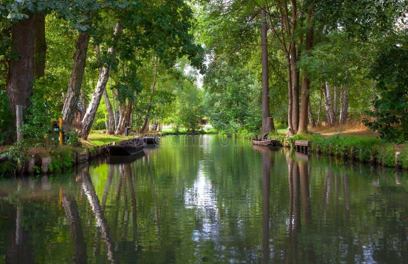 Canal del río en el Spreewald imagen de archivo