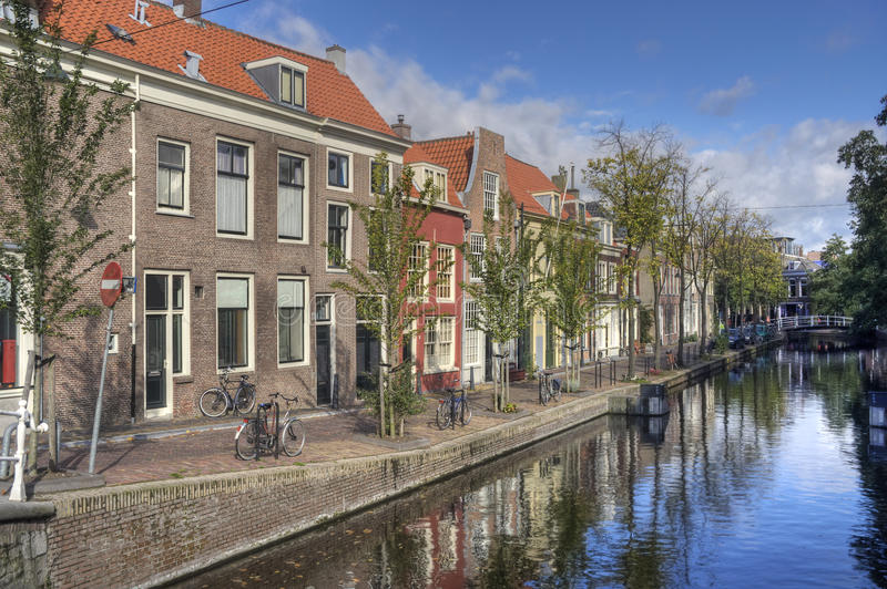 Canal in Delft. Canal and houses in Delft, Holland royalty free stock photo